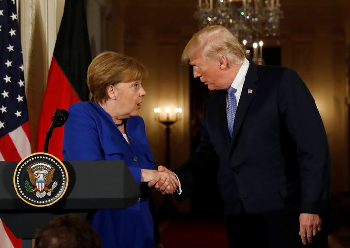 Trump greets Germany's Chancellor Angela Merkel during a joint news conference at the White House last month.