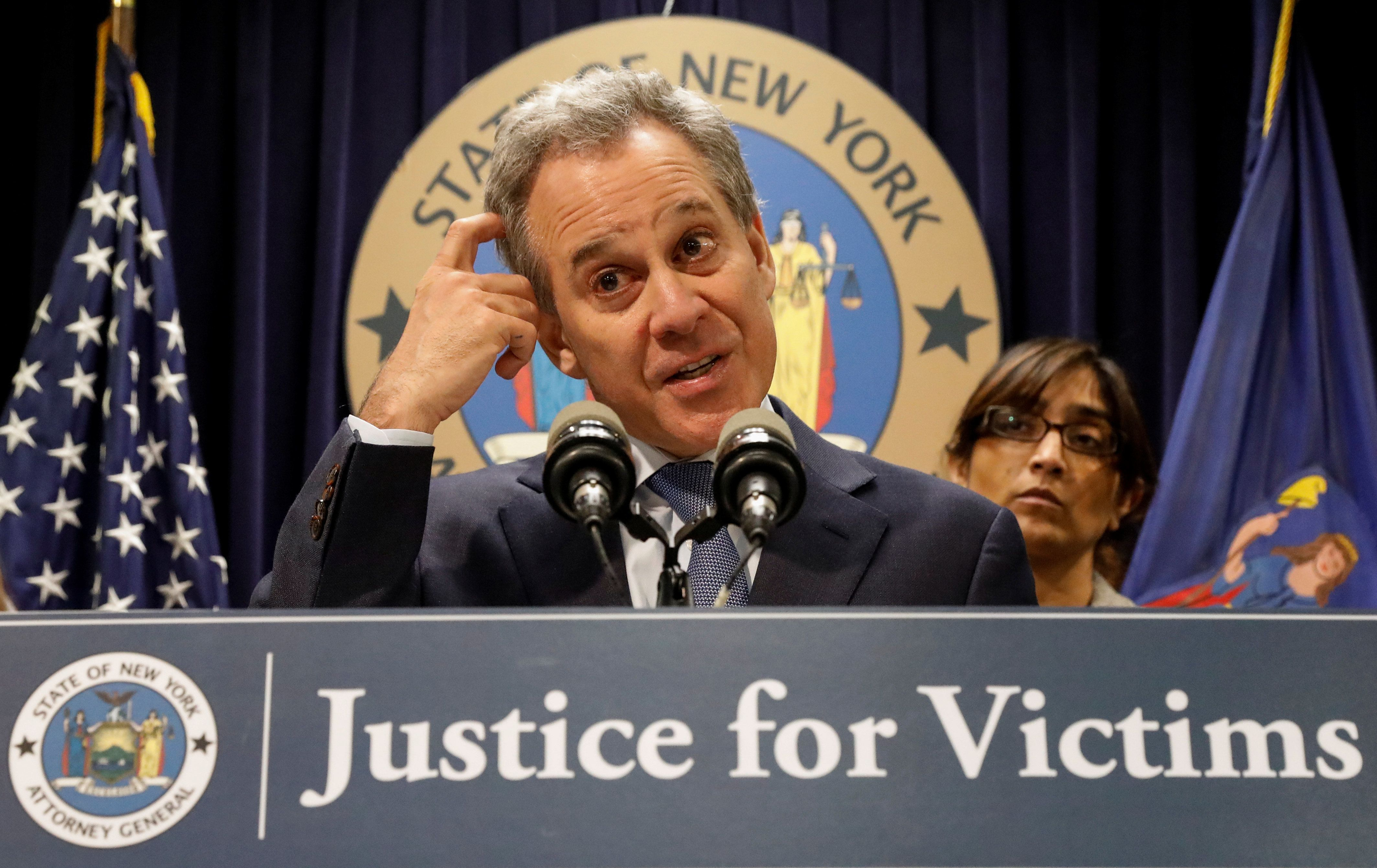 New York Attorney General Eric Schneiderman, whose resignation was effective Tuesday, speaks at a news conferenceon his