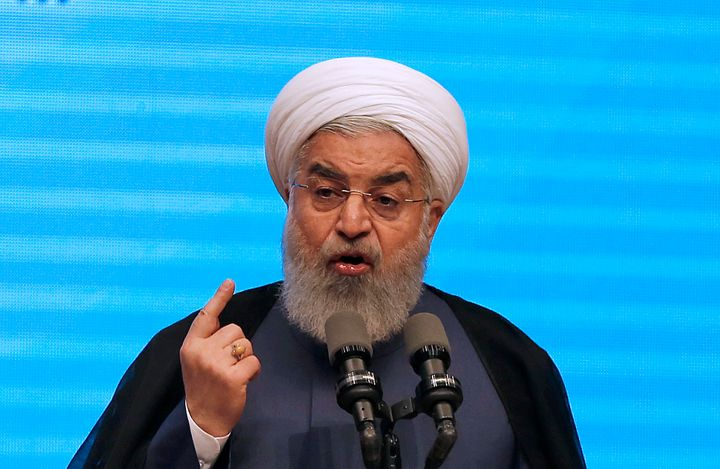 "Iranian President Hassan Rouhani, seen last month, had said that if the U.S. left the nuclear deal it would be a ""h"