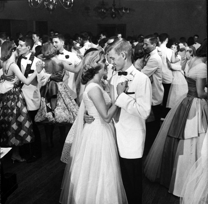 Students dance at the 1958 Mariemont High School prom in Ohio.