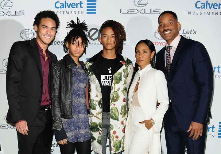 Trey Smith, Willow Smith, Jaden Smith, Jada Pinkett Smith and Will Smith pictured together in 2016.