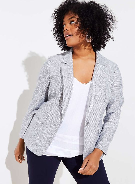 "<strong>Sizes</strong>: 16 to 26<br>Get it <a href=""https://www.loft.com/loft-plus-french-terry-blazer/468425?skuId=25064223&"