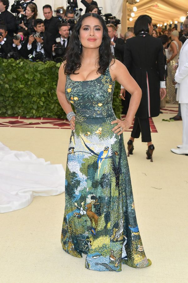 Salma Hayek's gown for the gala was inspired by the Garden of Eden, the paradise God created for Adam and Eve. Designer