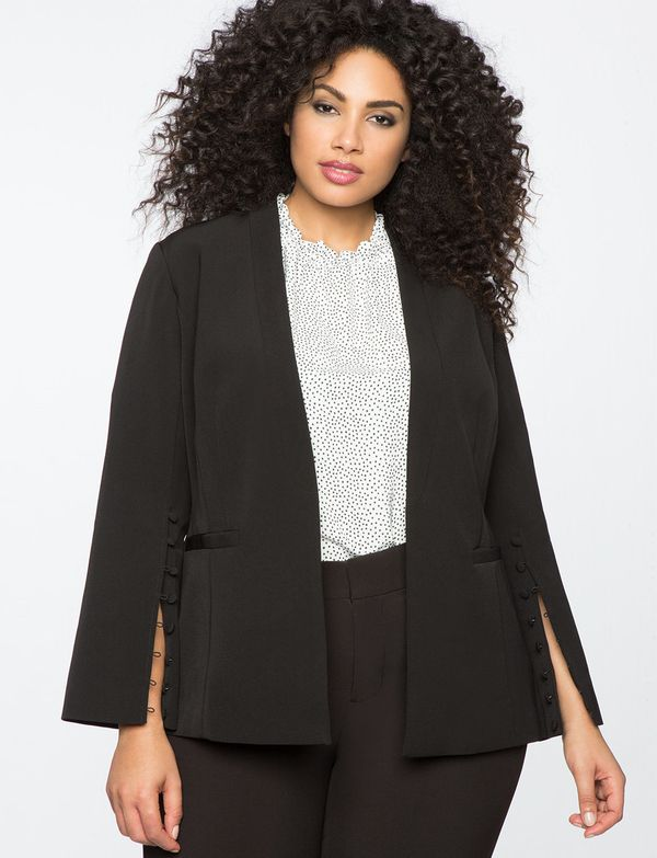 "<strong>Sizes</strong>: 14 to 28<br>Get it <a href=""http://www.eloquii.com/button-detail-blazer/1275711.html?cgid=work-blazer"