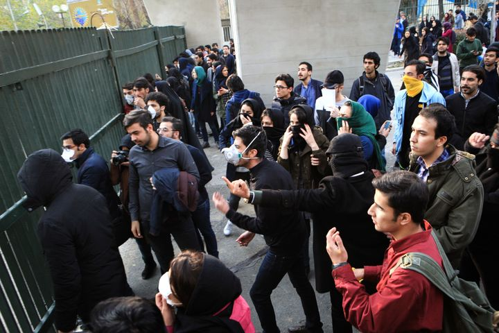 Iranian students protest at the University of Tehran during a demonstration driven by anger over economic problems on Dec. 30