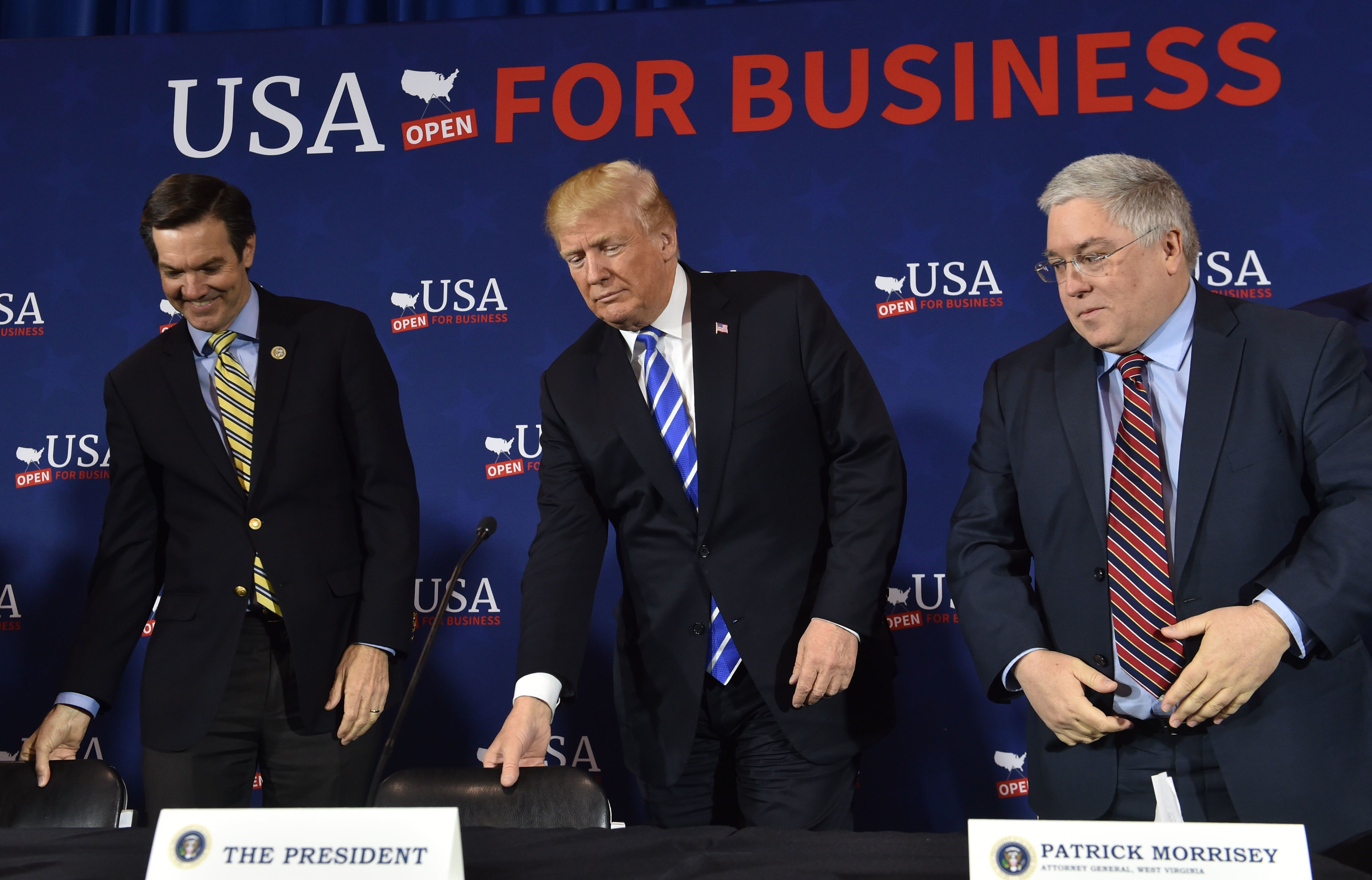 President Donald Trump arrives for a roundtable discussion on tax reform in White Sulpher Springs, West Virginia, on Apr