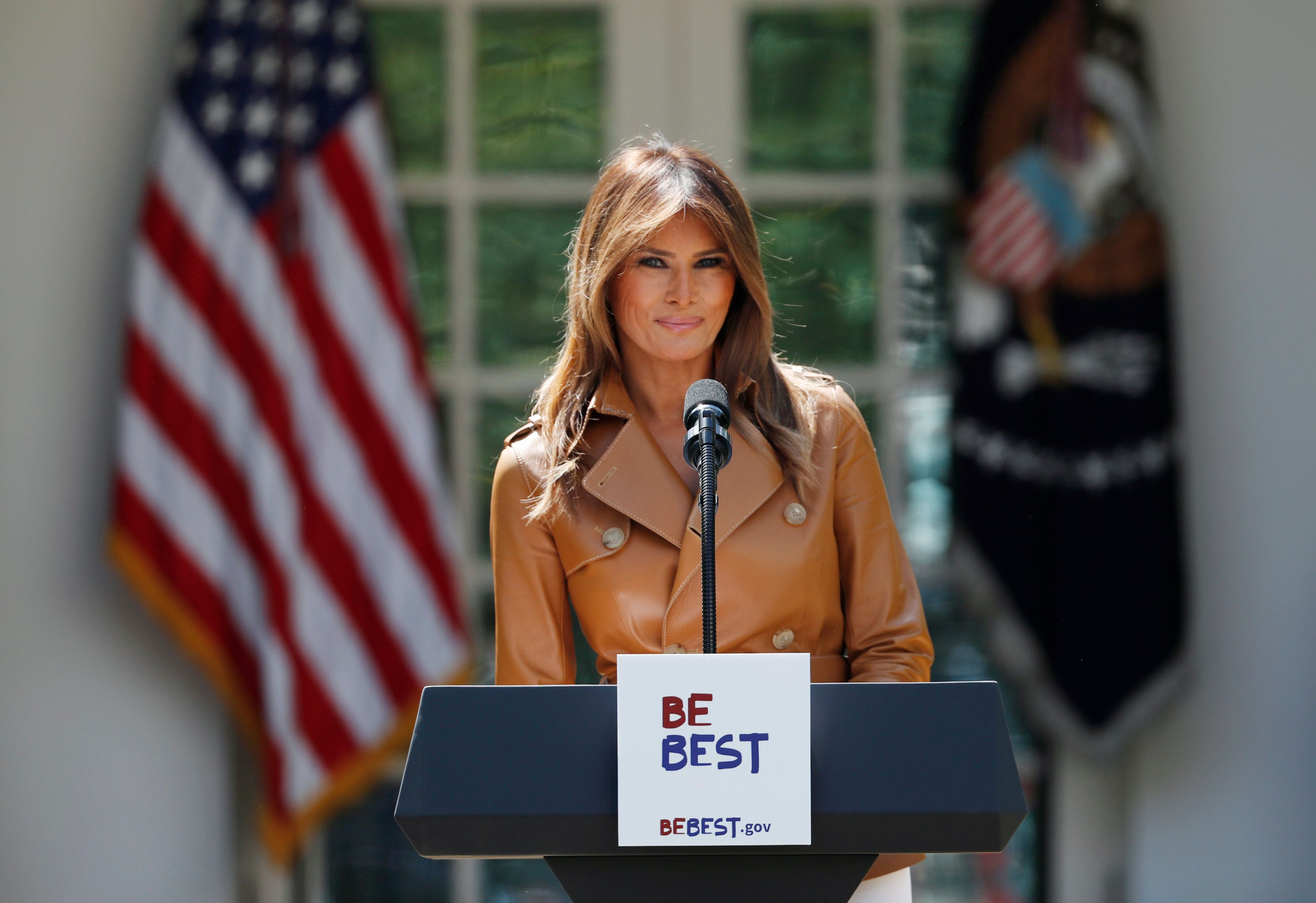 "First lady Melania Trump launched her ""Be Best"" initiative, which aims to encourage ""positive social, emotional an"