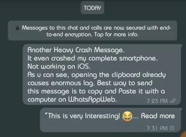 WhatsApp 'Text Bomb' Bug Discovered That Can Crash Your