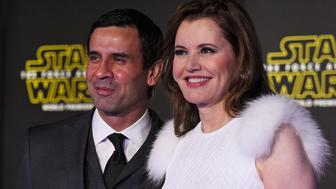 HOLLYWOOD, CA - DECEMBER 14:  Actress Geena Davis (R) and Reza Jarrahy attend the premiere of Walt Disney Pictures and Lucasfilm's 'Star Wars: The Force Awakens' at the Dolby Theatre on December 14th, 2015 in Hollywood, California.  (Photo by Frazer Harrison/Getty Images)