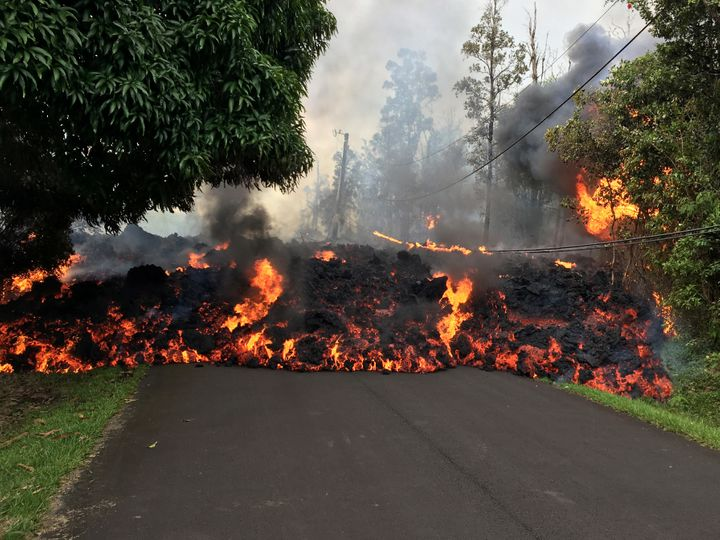 A lava flow moves on Makamae Street after an eruption on Sunday.