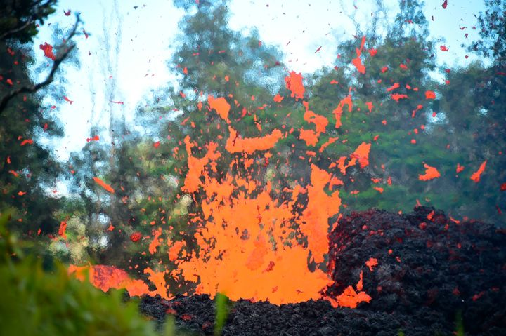 Lava spews from a fissure in Leilani Estates on Friday.