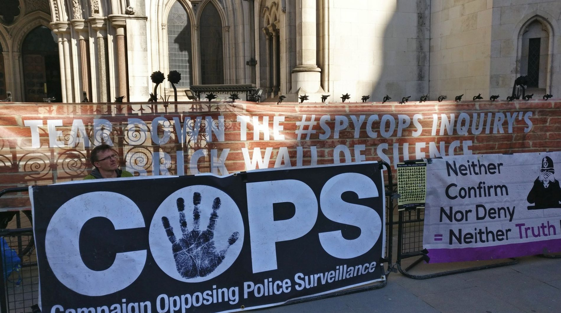 Police Spies Out protesters outside the Royal Court of Justice in