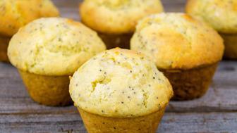 homemade lemon poppy seed muffins closeup