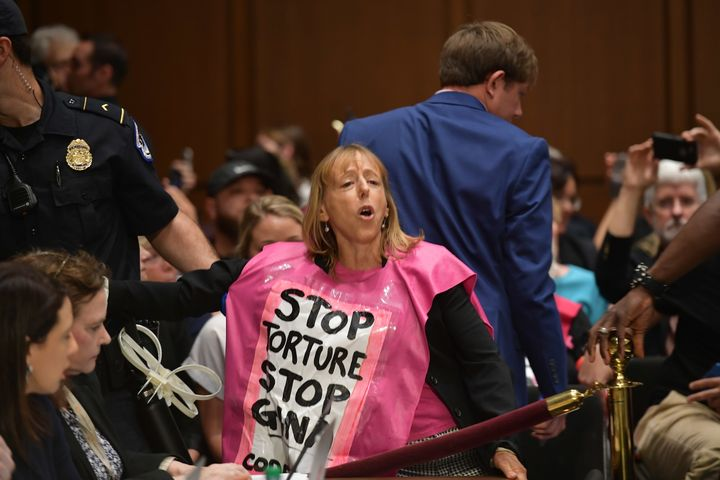 Protesters from Code Pink are removed before Gina Haspel testifies at the Senate Intelligence Committee on Wednesday.