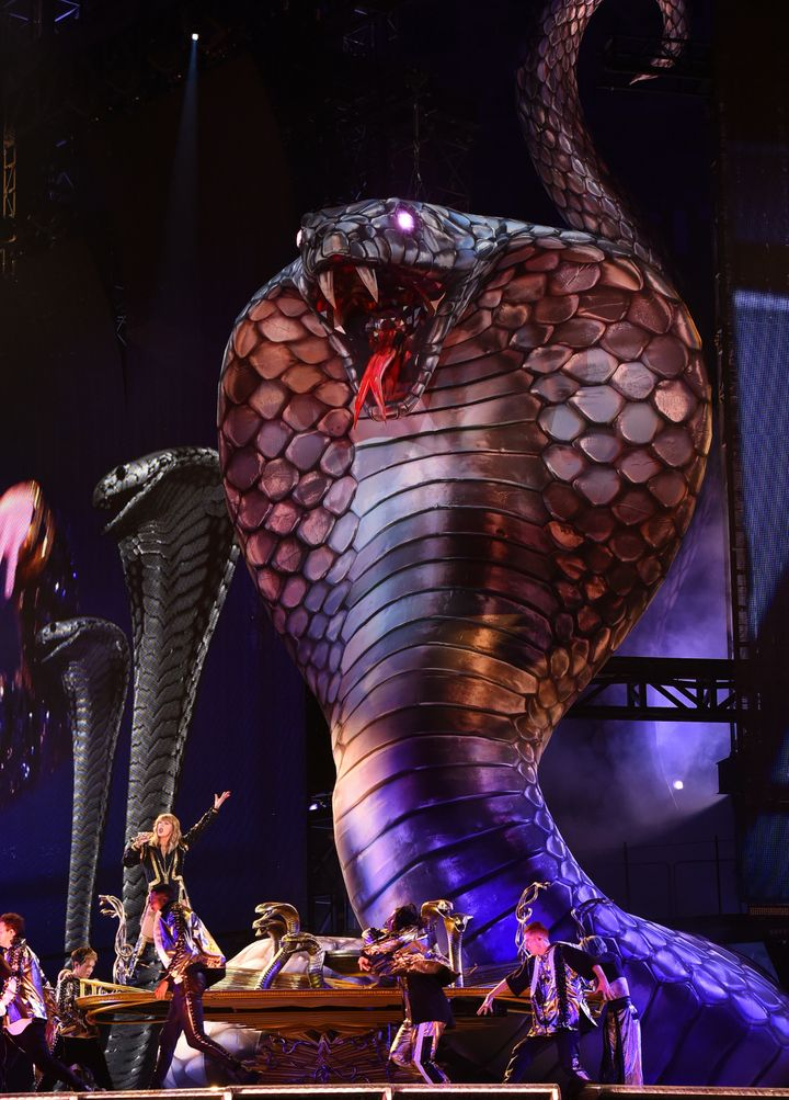 "Taylor Swift performs onstage during opening night of her 2018 ""Reputation"" stadium tour."