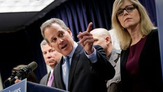 NEW YORK, NY - MARCH 15:  New York state Attorney General Eric Schneiderman speaks during a news conference to announce the take down of a large organized crime ring, March 15, 2017 in New York City. The investigation, dubbed Operation Sticky Fingers, has resulted in charges against 12 people accused of stealing more than $12 million in high-end electronics and supplies from retail stores and reselling the merchandise on Amazon and eBay. (Photo by Drew Angerer/Getty Images)