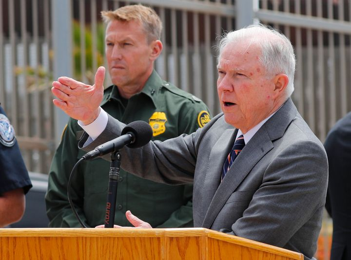 Attorney General Jeff Sessionsannounces the Trump administration will increase prosecutions of people apprehended cross