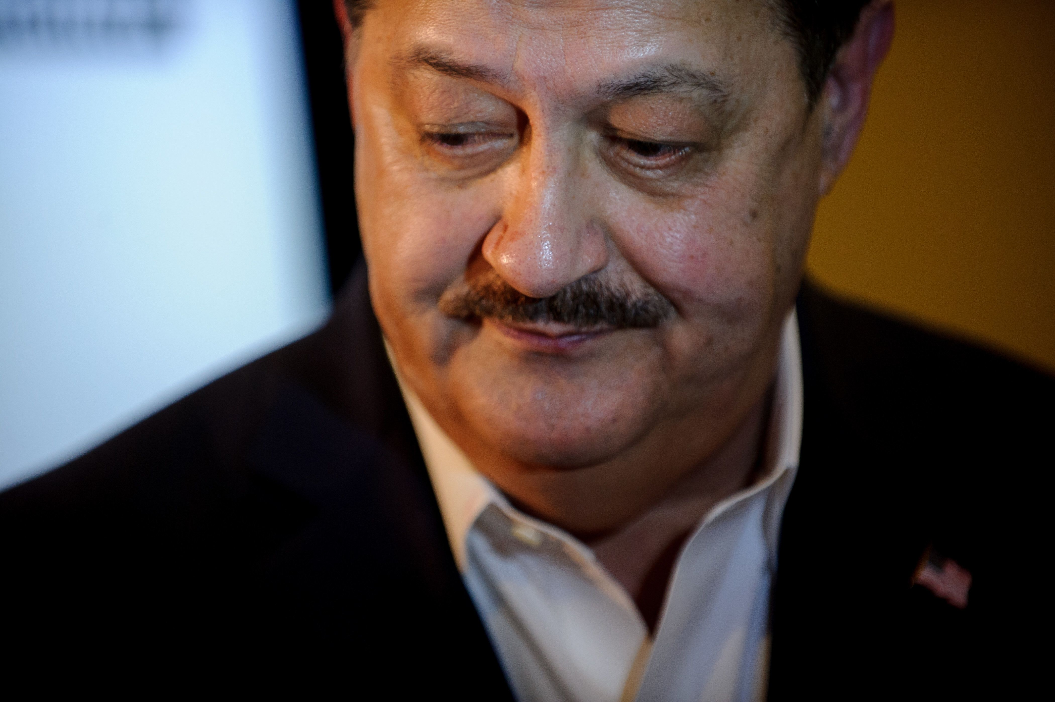 CHARLESTON, WV - MAY 08: U.S. Senate Republican primary candidate Don Blankenship is interviewed by media outlets following the closing of the polls May 8, 2018 in Charleston, West Virginia. President Donald Trump weighed in on the Republican primary yesterday in a tweet, urging West Virginia to vote for Blankenship's opponents, declaring the former coal executive 'can't win the General Election . . . '  (Photo by Jeff Swensen/Getty Images)