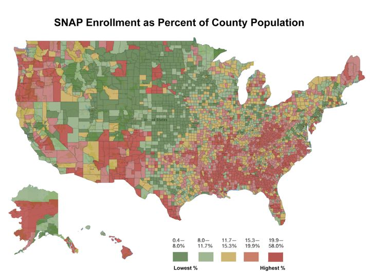 The map shows U.S. counties split into five equally numbered groups based on the percent of a county's population that partic