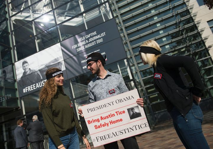Protesters at a rally for Austin Tice, an American journalist held in Syria, in Washington on November 2, 2016. Presiden
