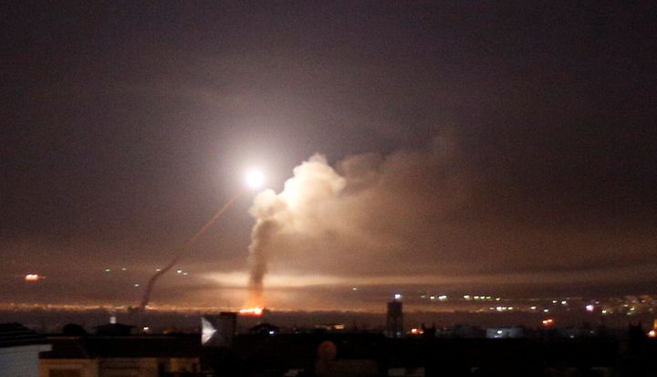 Missile fire, as seen from Damascus, Syria, on Thursday.