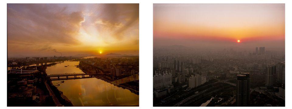남한과 북한의 모습을 같은 구도에서 촬영한 사진작가의
