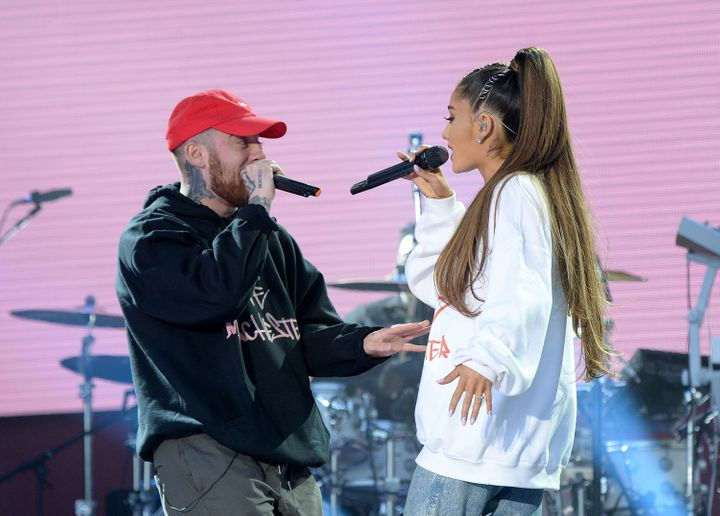 Mac Miller and Ariana Grande perform at a Manchester benefit.