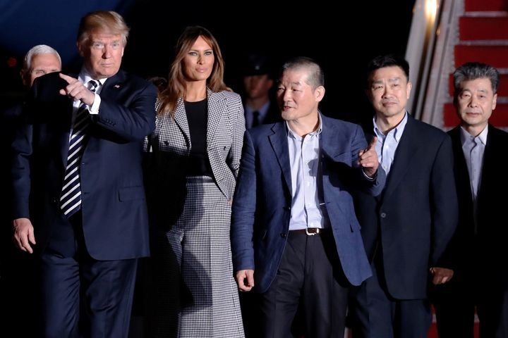 Trump and first lady Melania Trump meet the three Americans released from detention in North Korea upon their arrival at Join