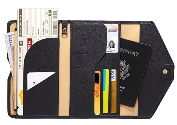 "For under $15, this passport travel wallet will make a useful gift for all of their adventures ahead. Get it on <a href=""http"