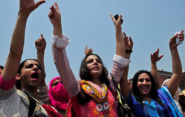 Pakistani transgender people participate in a rally for their rights in Peshawar, Pakistan, on July 11,