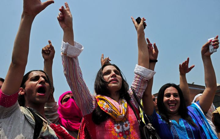 Pakistani transgender people participate in a rally for their rights in Peshawar, Pakistan, on July 11, 2011.