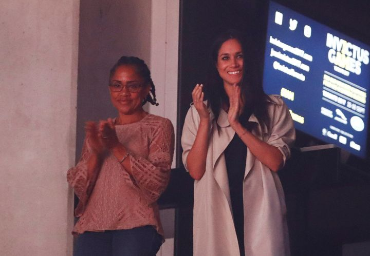 Meghan and her mother at the Invictus Games in 2017, where Doria met Prince Harry