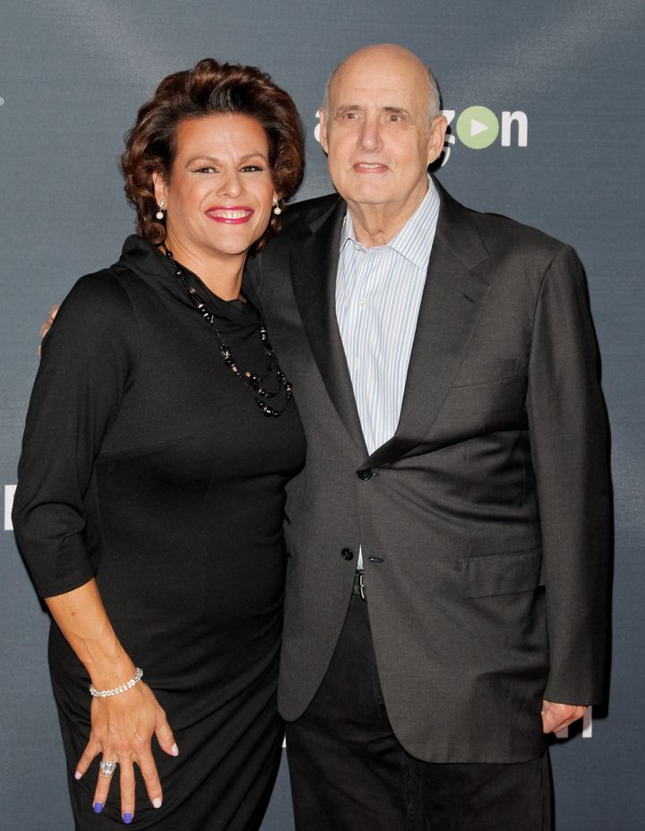 "Alexandra Billings poses with Jeffrey Tambor at the Season 2 premiere of ""Transparent."""
