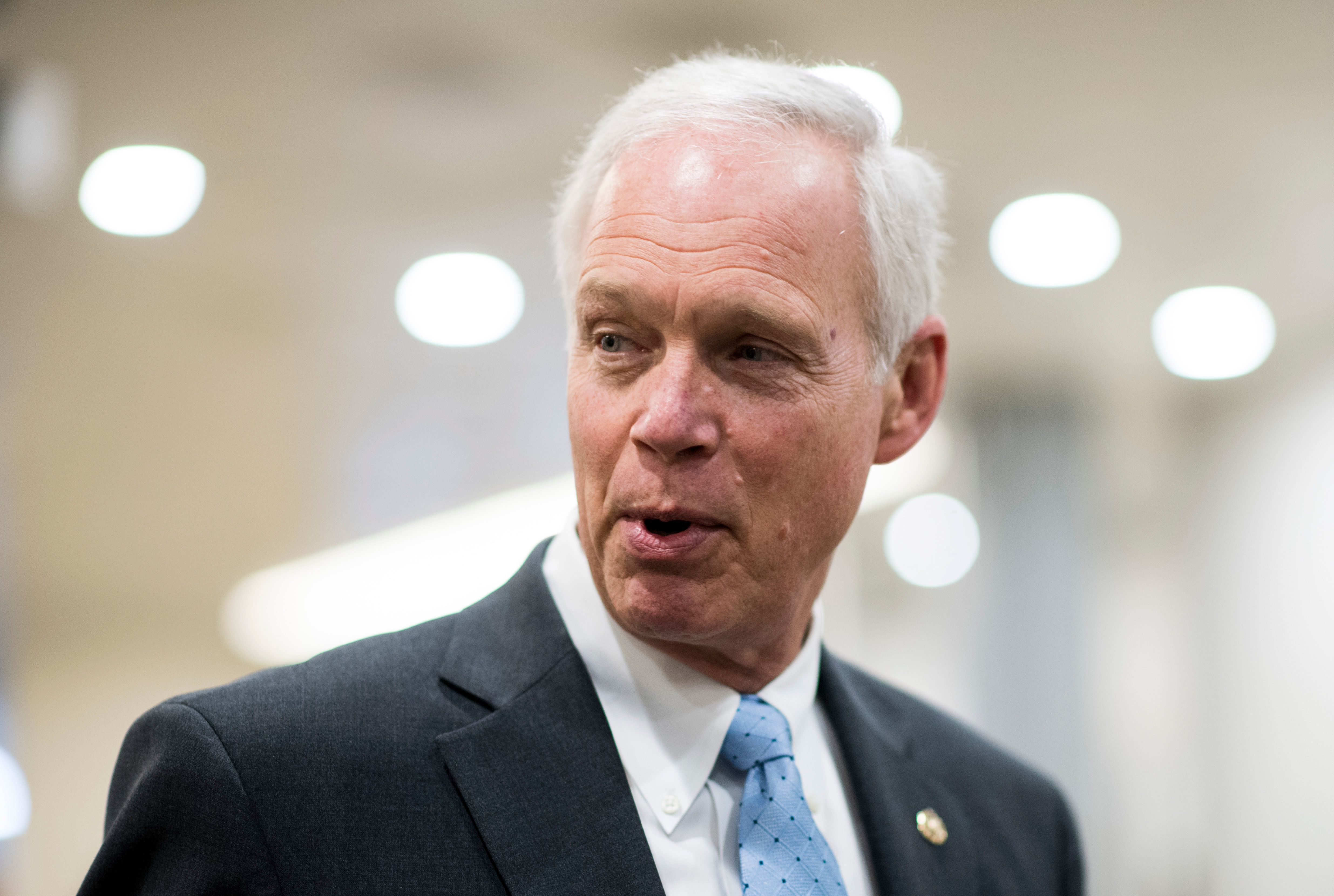 UNITED STATES - MARCH 14: Sen. Ron Johnson, R-Wisc., speaks with reporters in the Capitol on Wednesday, March 14, 2018. (Photo By Bill Clark/CQ Roll Call)