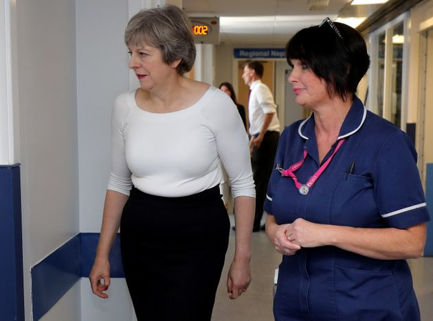 Theresa May with nurses at Royal Liverpool University Hospital