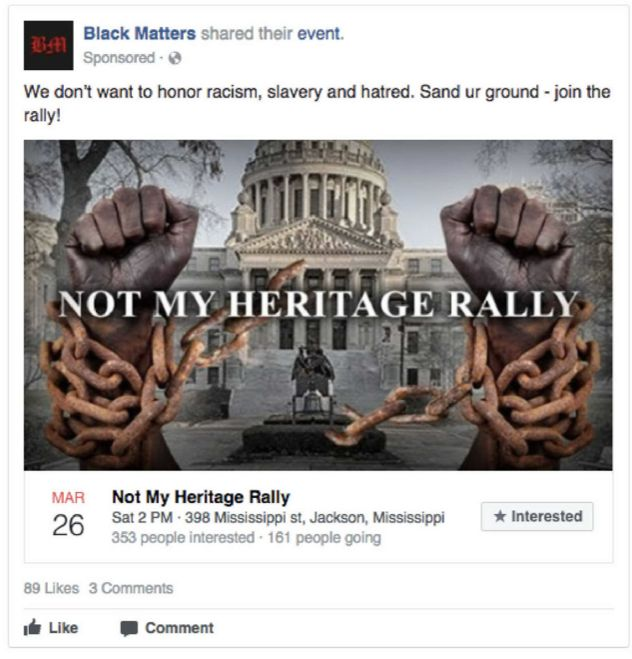 "According to the House analysis, the IRA paid 2,840 rubles (about $46) to promote a ""Not My Heritage Rally."" The ad targ"