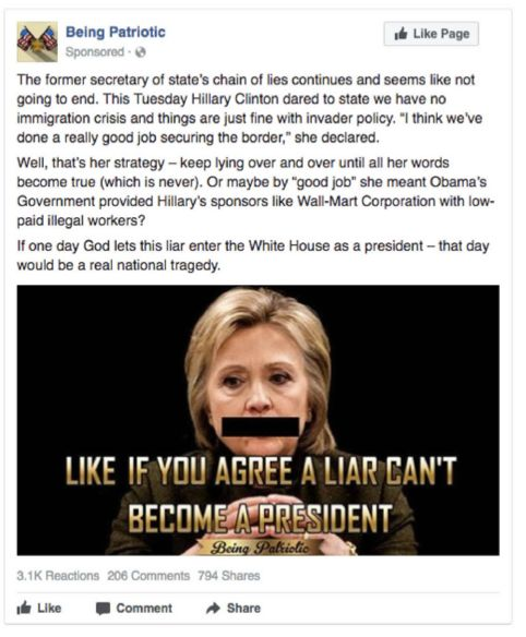 "This anti-Hillary Clinton ad focused on immigration and was aimed at members of the ""Being Patriotic"" Facebook page and"