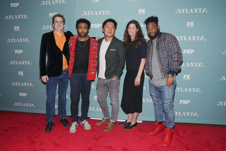 Writer and producer Paul Simms, actor, writer and executive producer Donald Glover, director Hiro Murai, executive producer D