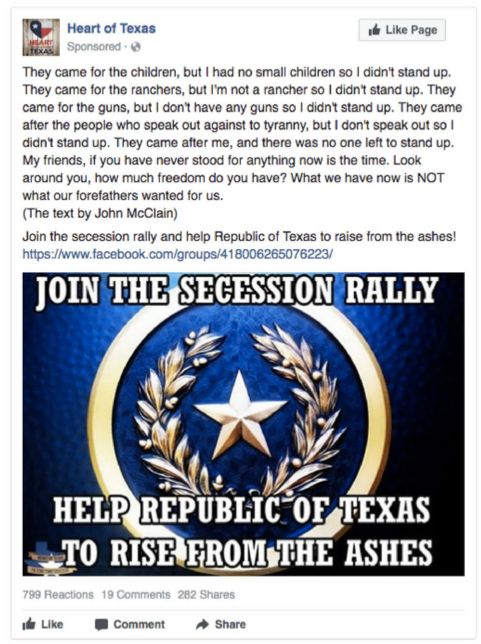 "An event sponsored by one of the IRA's more successful Facebook pages, ""Heart of Texas,"" encouraged followers to attend a sec"