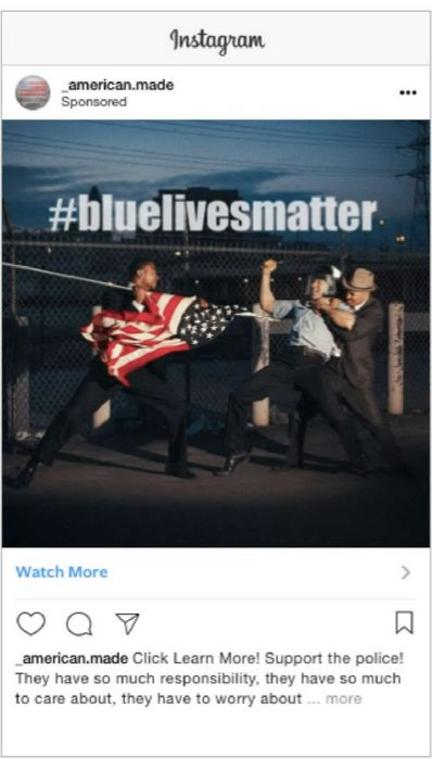 This Instagram ad, featuring an image of a black man spearing a white police officer with the American flag, targeted people