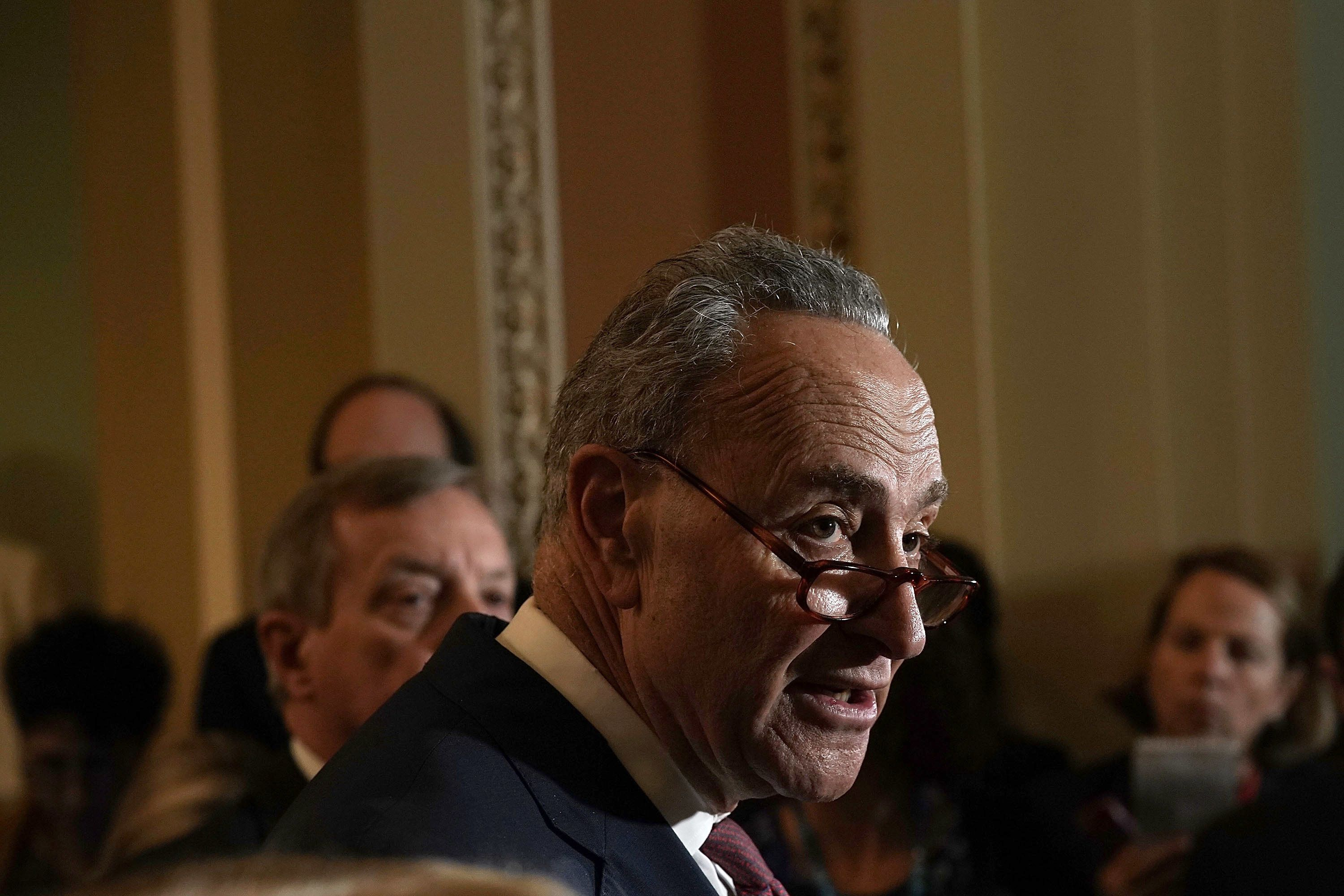 WASHINGTON, DC - JANUARY 23:  U.S. Senate Minority Leader Sen. Chuck Schumer (D-NY) speaks to members of the media after a weekly Senate Democratic Policy Luncheon January 23, 2018 at the U.S. Capitol in Washington, DC. Senate Democrats held a policy luncheon to discuss the Democratic agenda.  (Photo by Alex Wong/Getty Images)