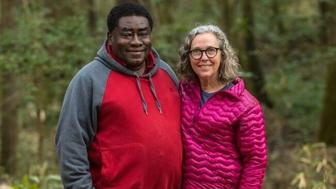 Environmentalist pastor and nonprofit leader Rev Leo Woodberry with Dogwood Alliance Founder and Executive Director Danna Smith at Congaree National Park in South Carolina