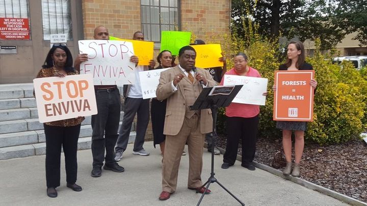 South Carolina environmental justice leader and pastor, Rev. Leo Woodberry, speaks at a 2017 news conference with the Co