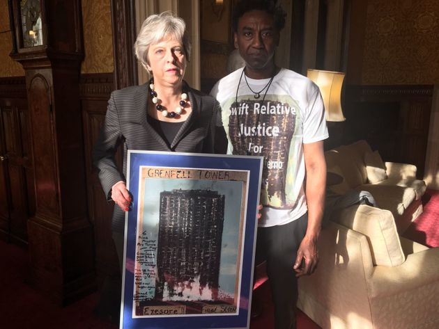 Theresa May meeting with artist Damel Carayol.