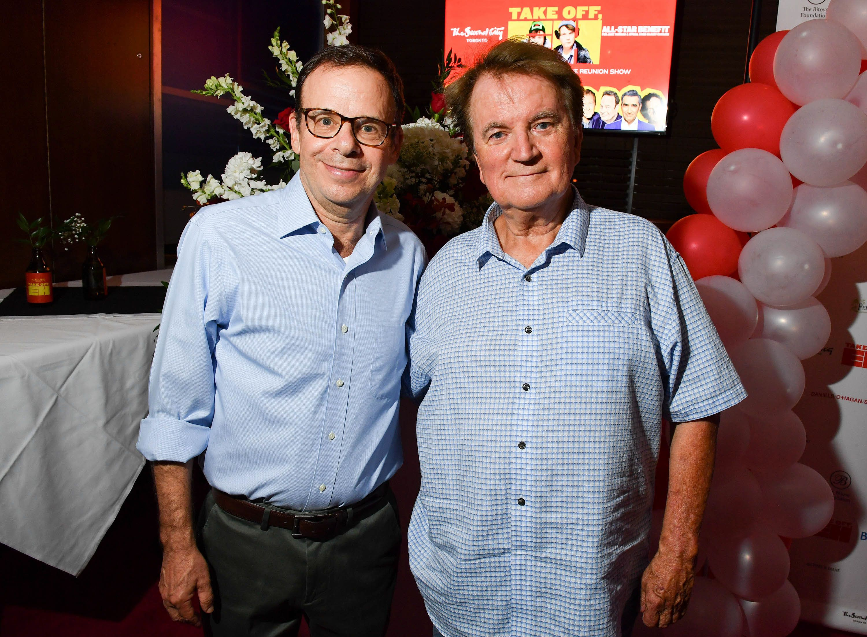 TORONTO, ON - JULY 18:  SCTV cast  Rick Moranis and Dave Thomas attend the Dave Thomas And The Second City Present 'Take Off, EH!' An All-Star Benefit after party for Jake Thomas And Spinal Cord Injury Ontario  held at Wayne Gretzky's on July 18, 2017 in Toronto, Canada.  (Photo by George Pimentel/Getty Images)