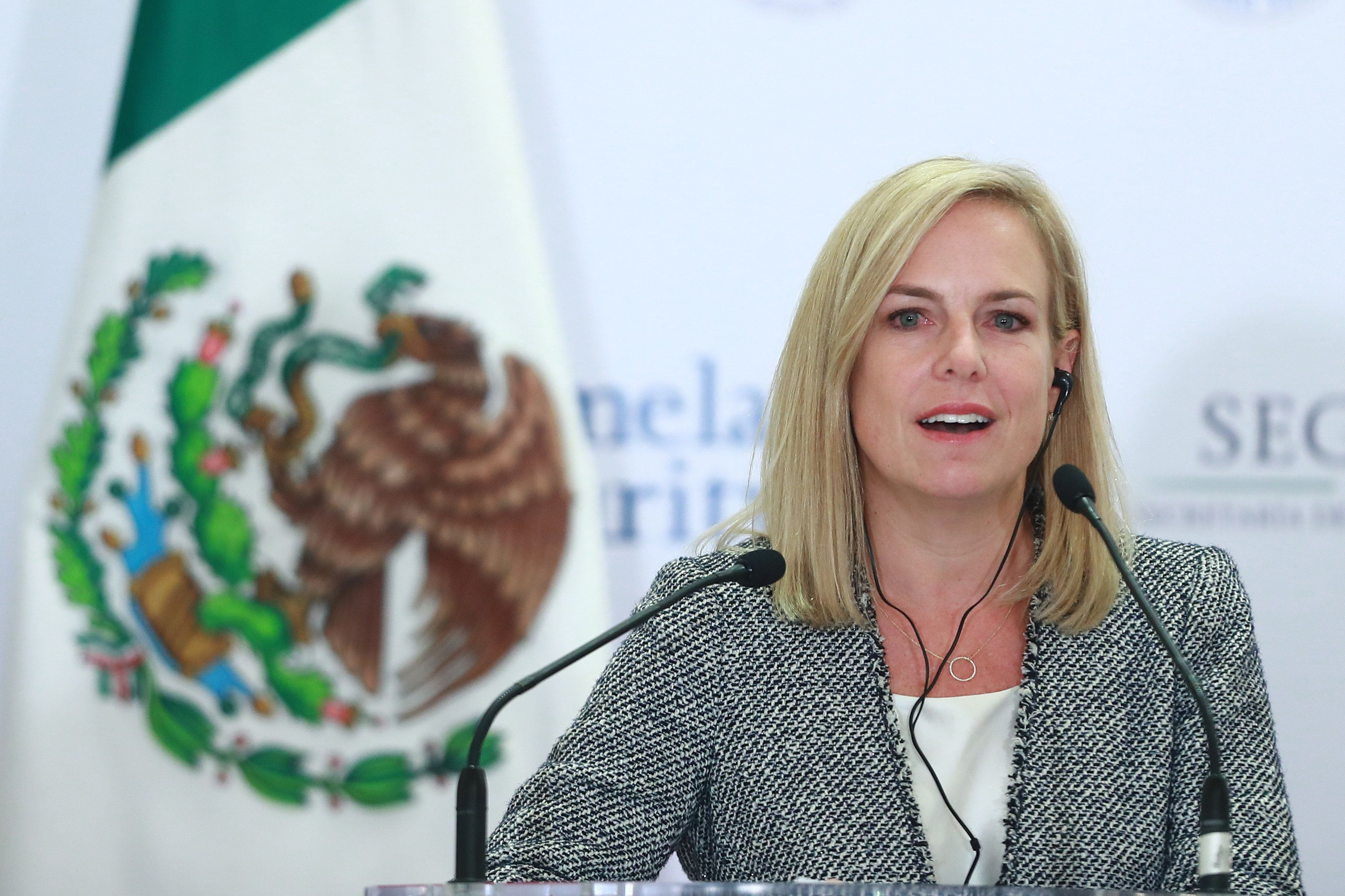 MEXICO CITY, MEXICO - MARCH 26: Homeland Security Secretary Kristjen Nielsen speaks during a press conference at the Mexican Government Office on March 26, 2018 in Mexico City, Mexico. (Photo by Hector Vivas/Getty Images)
