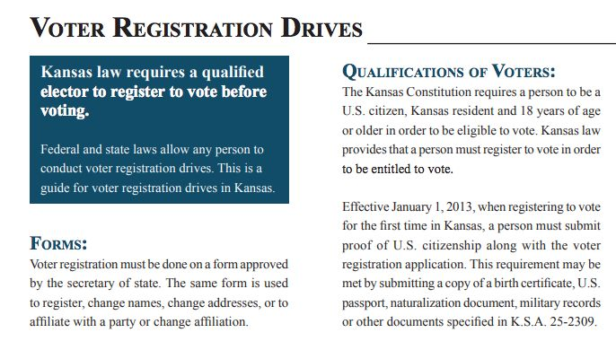 A Kansas Secretary of State guide for voter registration drives doesn't clarify that people using the federal form to registe