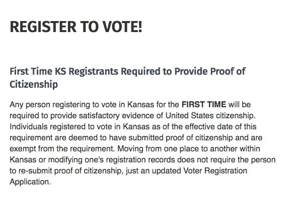 A section of the Riley County website that says first-time voters need to prove their citizenship.