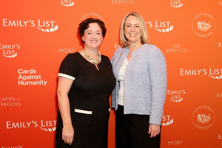 Katie Porter and EMILY's List President Stephanie Schriock on Feb. 27, 2018, in Los Angeles.