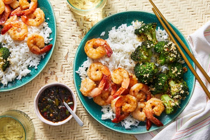 Chrissy Teigen's Blue Apron recipe for garlic and soy-glazed shrimp with charred broccoli and hot green pepper sauce.&nb